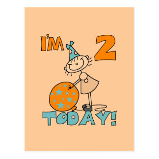 Stick Girl I'm 2 Today Tshirts and Gifts Postcard