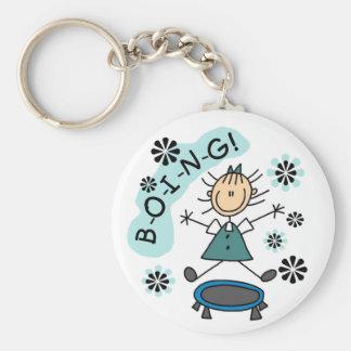 Stick Girl on Trampoline Basic Round Button Keychain