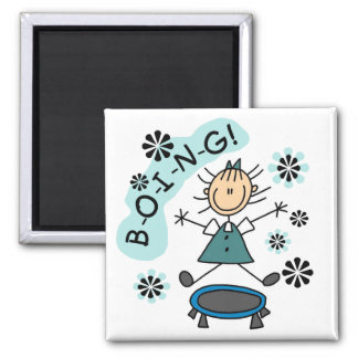 Stick Girl on Trampoline T-shirts and Gifts 2 Inch Square Magnet