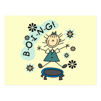 Stick Girl on Trampoline T-shirts and Gifts Postcard