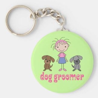 Stick Girl Pet Occupation Dog Groomer Keychain