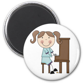 Stick Girl Playing Piano 2 Inch Round Magnet