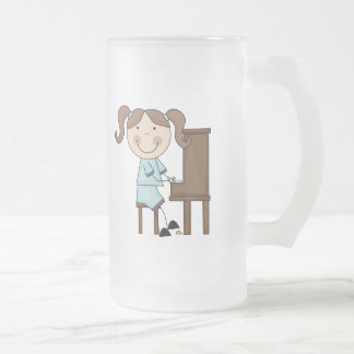 Stick Girl Playing Piano Frosted Glass Beer Mug