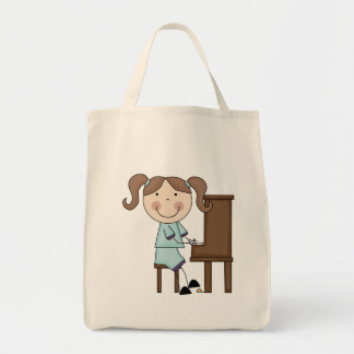 Stick Girl Playing Piano Grocery Tote Bag