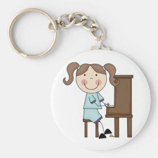 Stick Girl Playing Piano Keychain