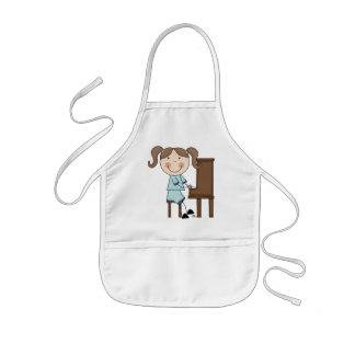 Stick Girl Playing Piano Kids' Apron