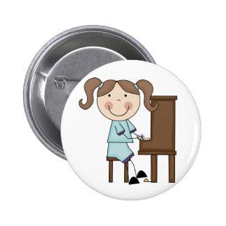 Stick Girl Playing Piano Pinback Button