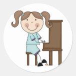 Stick Girl Playing Piano Sticker