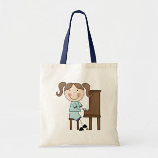 Stick Girl Playing Piano Tote Bag