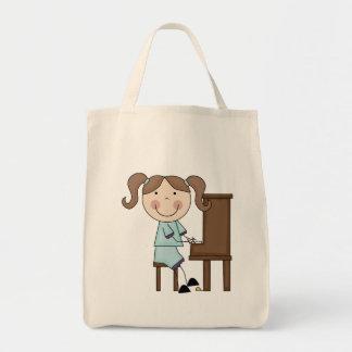 Stick Girl Playing Piano Tote Bag