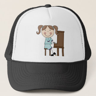 Stick Girl Playing Piano Trucker Hat