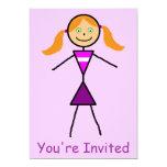 "Stick Girl Redhead 5"" X 7"" Invitation Card"