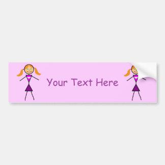 Stick Girl Redhead Bumper Sticker