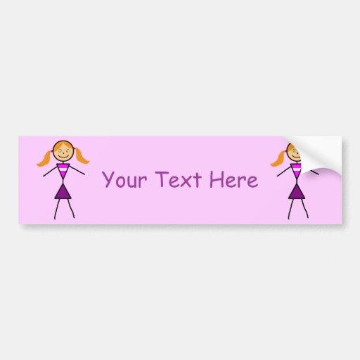 Stick Girl Redhead Car Bumper Sticker