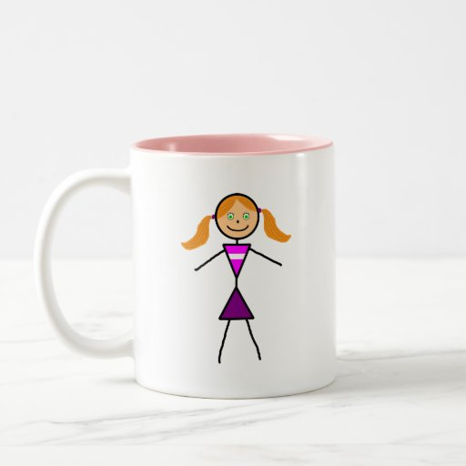 Stick Girl Redhead Two-Tone Coffee Mug