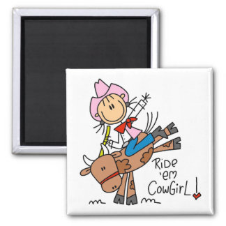 Stick Girl Ride Em Cowgirl Tshirts and Gifts 2 Inch Square Magnet