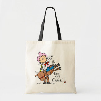 Stick Girl Ride Em Cowgirl Tshirts and Gifts Budget Tote Bag