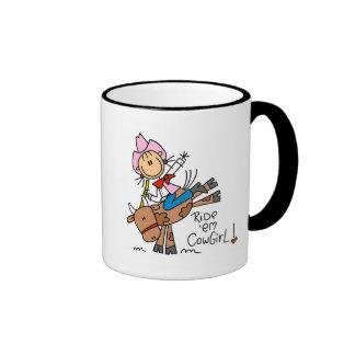 Stick Girl Ride Em Cowgirl Tshirts and Gifts Ringer Coffee Mug