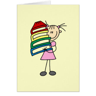 Stick Girl With Books Greeting Card