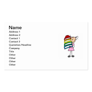 Stick Girl With Books Double-Sided Standard Business Cards (Pack Of 100)