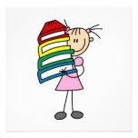 Stick Girl With Books Invitations