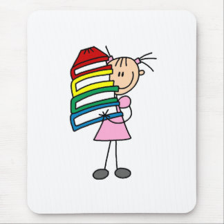 Stick Girl with Books Mouse Pad