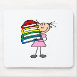 Stick Girl with Books Mouse Pads