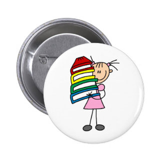 Stick Girl with Books Pinback Button