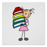 Stick Girl With Books Print
