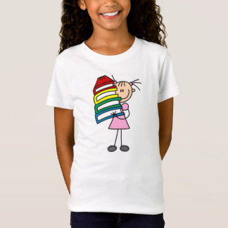 Stick Girl with Books T-Shirt