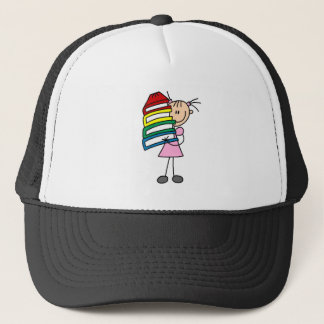 Stick Girl with Books Trucker Hat