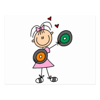 Stick Girl with Records T-shirts and Gifts Postcard