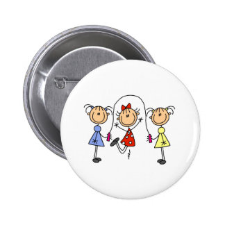 Stick Girls Jumping Rope Pinback Buttons