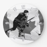 Stick Handling Ice Hockey Player and Canadian Flag Large Clock