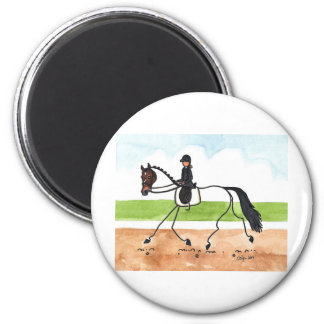 STICK HORSE Brown Trot Dressage 2 Inch Round Magnet
