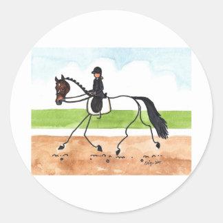STICK HORSE Brown Trot Dressage Classic Round Sticker