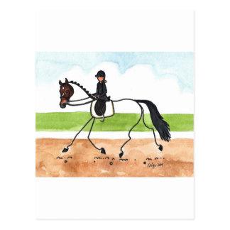 STICK HORSE Brown Trot Dressage Postcard