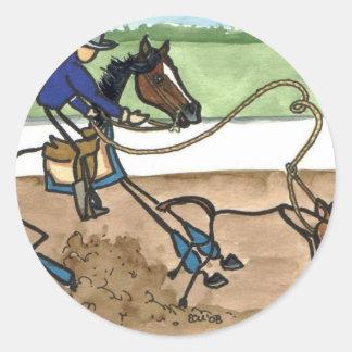 STICK HORSE calf roping Classic Round Sticker