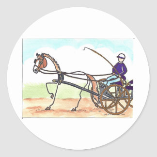 STICK HORSE Carriage Driving Classic Round Sticker