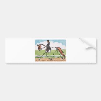 STICK HORSE Chestnut Dressage Trot Car Bumper Sticker