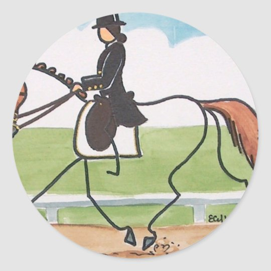 STICK HORSE Chestnut Dressage Trot Classic Round Sticker