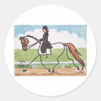 STICK HORSE Chestnut Dressage Trot Classic Round Sticker