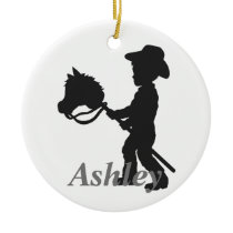 Stick  horse  cowboy ceramic ornament