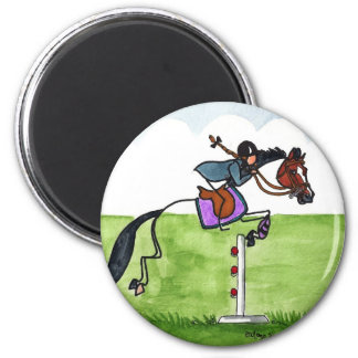 STICK HORSE Pony Showjumping 2 Inch Round Magnet