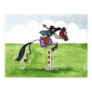 STICK HORSE Pony Showjumping Postcard