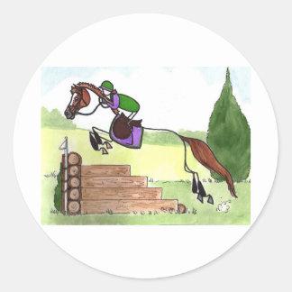 STICK HORSE XC Eventer Chestnut Classic Round Sticker