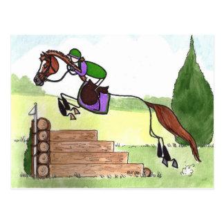 STICK HORSE XC Eventer Chestnut Postcard