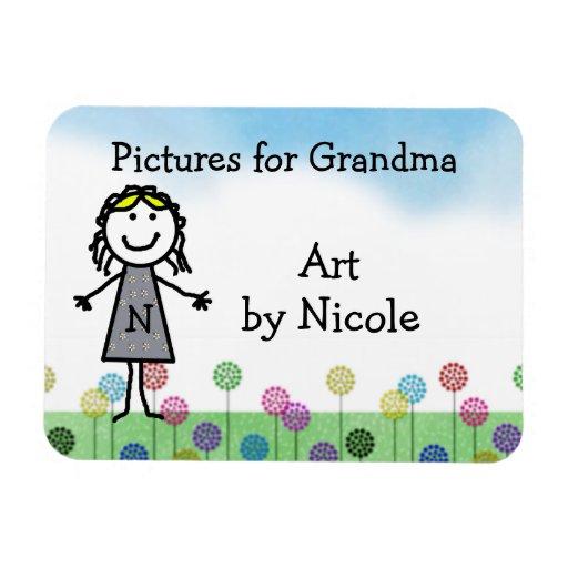 Stick Kid Girl's Personalized Fridge Art Flexi Mag Rectangular Magnets