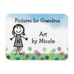 Stick Kid Girl's Personalized Fridge Art Flexi Mag Rectangular Photo Magnet