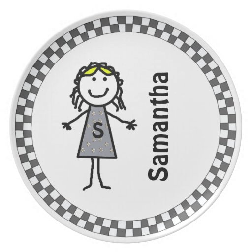 Stick Kids Girl's Personalized Dinner Plate